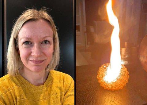 SKUMMELT: Tonje Johansson fra Lillestrøm og samboeren fikk seg en skrekkopplevelse med bruk av telys i helgen. Det tok ikke lang tid før flammene fra telyset sto langt over glassholderen. Foto: Privat