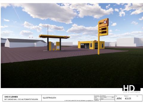 VASKEHALL OG AUTOMATSTASJON: Slik ser Uno-X for seg stasjonen blir seende ut. Vaskehallen blir liggende mot Lufthavnveien.