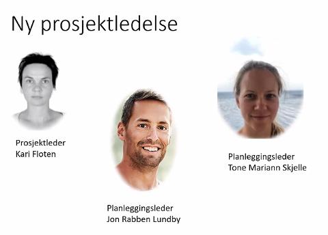 PROSJEKTLEDELSEN FOR NY RIKSVEI 19: Kari Floten, Jon Rabben Lundby og Tone Mariann Skjelle. Skjermdump fra Statens vegvesens presentasjon på Venstres åpne møte.