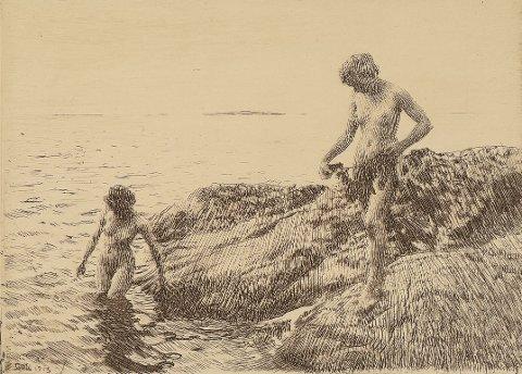 """For sterkt for Nordstrandsmann: """"Badene ungpiker"""", en radering av Anders Zorn, utstilt i Toldbodgaten ble krevd fjernet.  Foto hentet fra nettet."""