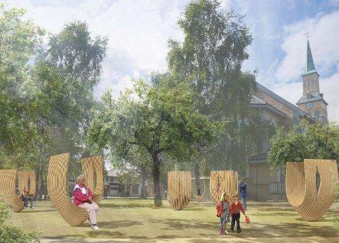 KOKONGENE BLIR: Oppgraderingen av Domkirkeparken er sendt ut på nytt anbud. Noe er forandret, men de såkalte «kokongene» bak kirken ville ikke kommunen ta vekk. Illustrasjon: Tromsø kommune/Haugen Zohar