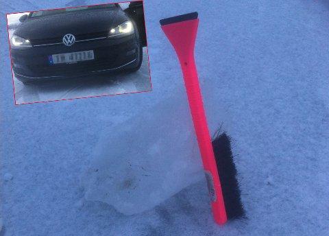 SKADER FOR 41.000: Isklumpen, her sammen med snøkosten for å vise størrelsen, forårsaket skadet som kostet 41.000  reparere på Golf-en til Oddmar Isaksen.