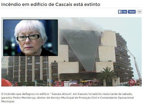 BRANN: Her står bygningen i Cascais i Portugal i brann. Blant annet huser den leiligheten til SV-byråd Gunhild Johansen (innfelt) i Tromsø og ektemannen.