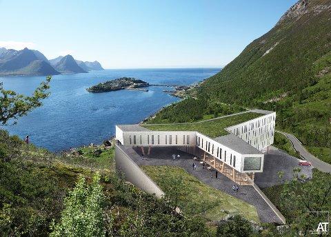 SPEKTAKULÆRT: Planene for hotellet i lia over Husøya tar form. Rolf-Bjørnar Tøllefsen sin store drøm er et steg nærmere realisering. Illustrasjon: AT plan & arkitektur AS