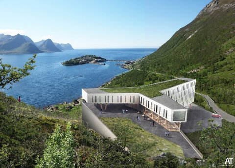 SPEKTAKULÆRT: Planene for hotellet i lia over Husøya tar form. Illustrasjon: AT plan & arkitektur AS