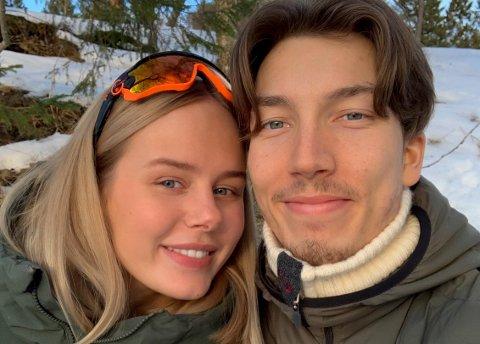 KJÆRESTER: Hoppstjernen Johann Forfang (25) har funnet kjærligheten med Kristin Solberg (23) fra Stjørdal.