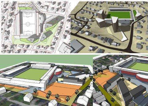 Øverst forslag til punktblokker fra Afheim Stadion II og AT plan & arkitektur as. Under byutviklings volumskisse som viser et fjerde alternativ for utbygging - lavblokk som omkranser Alfheim.