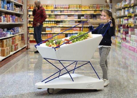 MODERNE I BUTIKKEN: Fords selvbremsende handlevogn kan gjøre butikkbesøk mindre stressende for foreldre.FOTO: FORD