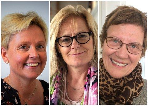 REPRESENTERER TRE ULIKE LISTER: Lisbeth Sydbøge fra Gjøvik (f.v.), Inger Kragh Nyhus fra Kapp og Kari E. Drogseth fra Snertingdal representerer hver sin liste ved høstens kirkevalg.