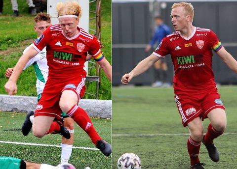 FØR OG ETTER: Håkon Svellet i kamp mot Stovner forrige helg til venstre.  Håkon Svellet mot Nybergsund ei uke senere til høyre i bildet.