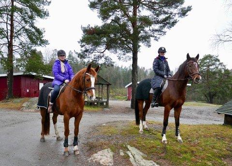 BLIR LIVREDDE: Ikke alle gleder seg til at det smeller. Nyttårsaften er kritisk for mange firbeinte. Her ses Malin på hesten Asteria og Maren på Boreas (th) ved Son Miljøhestesenter.