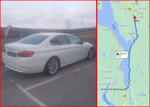 AVSKILTET: UP kom over denne bilen mellom Stange og Tangen i Innlandet. Først etter nesten fire mil ble bilen stanset. Nå er den avskiltet.