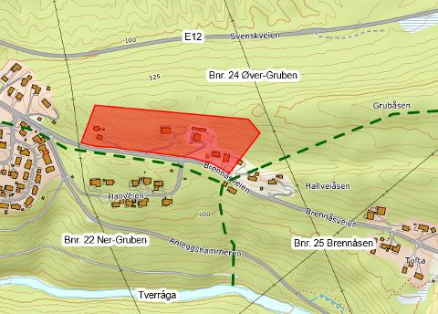Adresseområdet i rødt og grense mellom bruk i grønt.