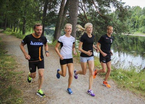 Stafett: Team Bilia Hønefoss består av ekteparet Krister Sørgård og Hanne Øien, og samboerparet Karianne Dalen og Eirik Norstrøm. Alle fire er aktive løpere, og for fjerde året på rad stiller de sammen på lag. De tre foregående årene har de løpt inn til seier i klassen. Foruten Ringeriksmaraton er ikke løp som Holmenkollstafetten, Oslo Maraton, Hytteplanmila, Schjongs 5'ern og Øyangen Rundt ukjente for disse fire. Foto: Mari Telise Nilsen/ Arne Tvervaag/ Torstein Mårdalen/ Privat