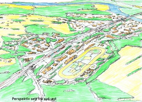 HEST: Her er hestesportsenteret tegnet inn i mulighetsstudien, som også legger opp til  næringsutvikling.
