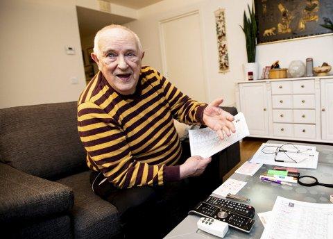 STORGEVINST: Knut Ulvedal sikret seg sin andre store gevinst i løpet av 50 år som travtipper. FOTO: LISBETH LUND ANDRESEN