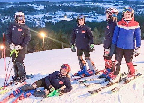 AKTIVE: Ivrige alpinister på toppen av Vardåsen vinteren 2019, med Røyken i bakgrunnen.
