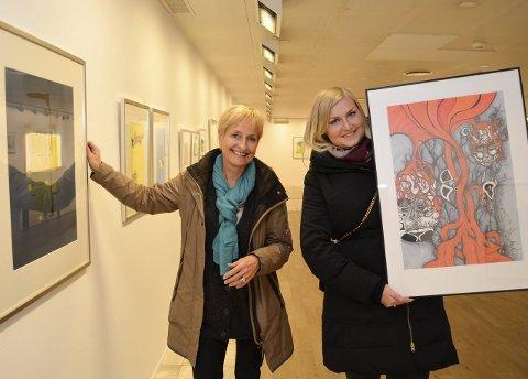 Åpning: Birgit Pettersen med «Lyspunkter» og Andrea Pettersen med «Yggdrasil», henholdsvis akvarell og tegning.