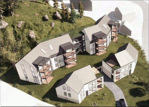 NEDRE MOVEI 9: De 15 leilighetene er fordelt på to husrekker, i skråningen opp mot fjellkollen i nord. (Illustrasjon: Skaara Arkitekter)