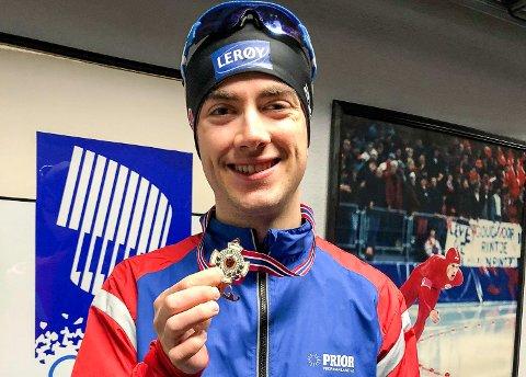 NM-BRONSE: Jørgen Sæves (24) sikret seg bronsemedaljen på 500 meter under NM enkeltdistanser i Vikingskipet.