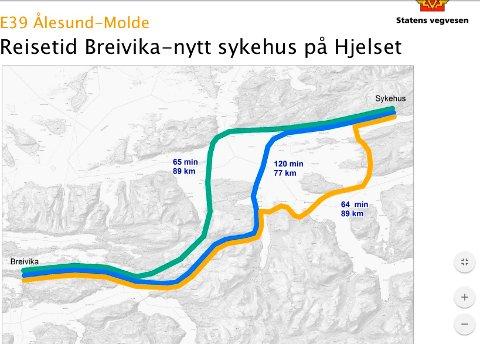 Alternative kryssinger av Romsdalsfjorden, grønn linje=vedtatt trasé, blå linje=høyfrekvent ferje og oransje linje=alternativ oversjøisk trasé. Møreaksen er fortsatt den beste løsningen, mener Statens vegvesen.-