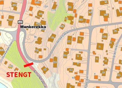 STENGT VEI: Amundrødveien stenges for gjennomkjøring for en periode fra og med neste uke.