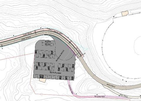 Skisse: Slik er parkeringsplassen tenkt for Fagernes Idrettspark Blåbærmyra. Denne asfalteres og merkes for 76 personbiler og et par bussplasser.