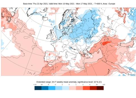 Slik ser temperaturkartet ut for Europa i uken frem til 17. mai. Slår det til, eller gjør det ikke?