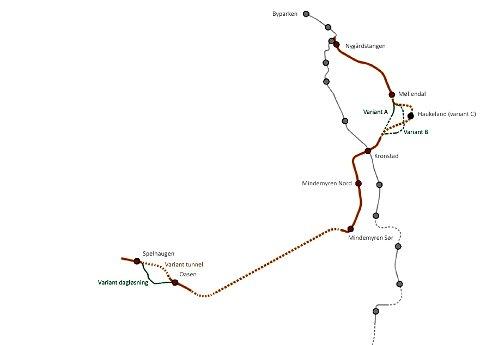 Traseen til Fyllingsdalen i grove trekk. Klikk på bildet for større versjon.