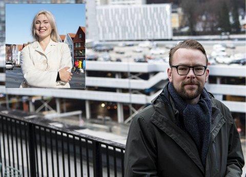 Sofie Marhaug (innfelt) og Harald Victor Hove er på hver sin side kritisk til byrådets arbeid i byarena-saken.