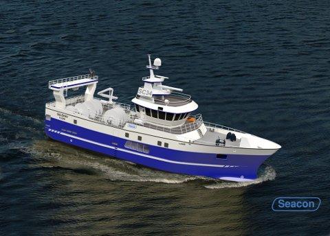 NY: Slik blir den nye båten som truleg vert heitande Sulehav sjåandes ut. Den er teikna av Seacon i Måløy, og er ein snurrevadbåt som skal fiske etter fersk fisk.
