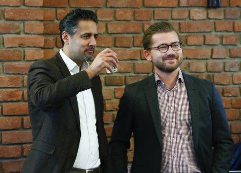 Abid Raja (til venstre) og Sveinung Rotevatn har begge offentleg kunngjort at dei ønsker å etterfølgje Trine Skei Grande som Venstre-leiar.
