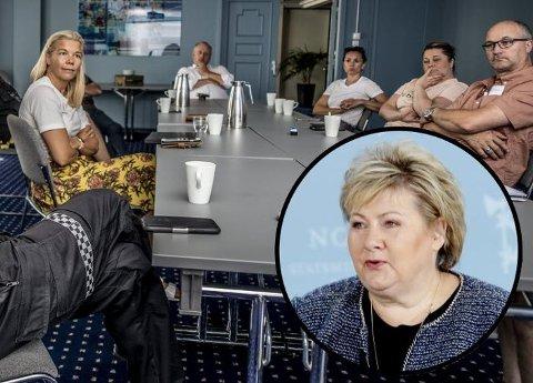 Serveringsnettverket i Fredrikstad Næringsforening har i kveld sendt brev til statsminister Erna Solberg. Brevet er signert sentrumsleder Line Jeppesen (nummer to fra høyre) og nettverksleder Rune Solberg (bakerst). Bildet er fra et møte bransjen hadde med politiet i sommer.