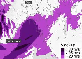 Det er sendt ut gult farevarsel for Østfold-kysten, hvor det kan komme vindkast på over 25 m/s.