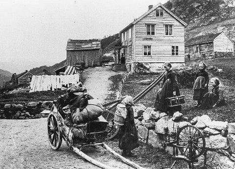 Seljestad Station: fotografert av Axel Lindahl i 1888. Dei to minste jentene til høgre på fotoet frå Seljestad skysstasjon er nabojentene Ingrid Seljestad (f. 1884) og Severina Seljestad (f. 1878) som vaks opp på Seljestad.