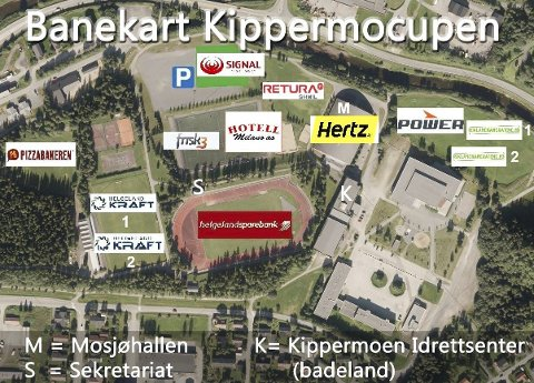 BANEKART: Her er en oversikt over banene og fasiliteter på Kippermoen. Banene Olderskog (O) og Halsøy (H) kommer i tillegg. S står for sekretariat, K for Kippermoen idrettssenter og badeland og M står for Mosjøhallen.