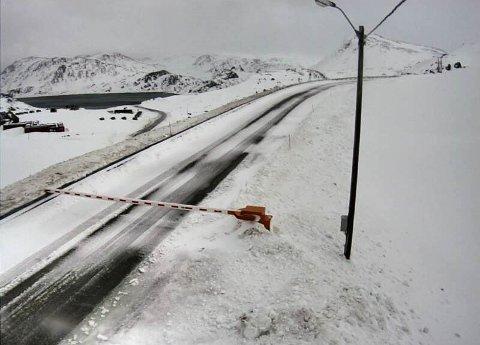 STENGT: Bommen er nede flere steder i Finnmark. Dette bildet er tatt ved Kamøyværkrysset ved E69 klokken 12:01 torsdag.