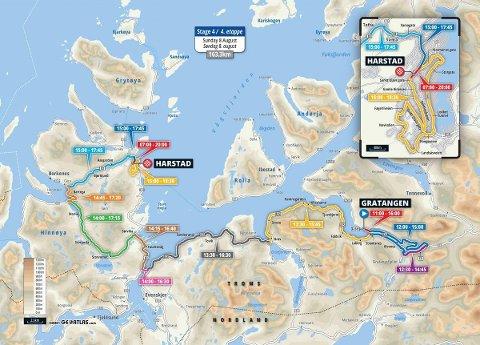 Førstkommende søndag avsluttes Arctic Race of Norway i Harstad. Det fører til mange stengte veier.