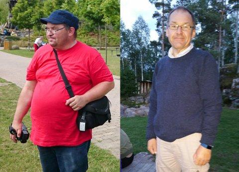 FØR OG ETTER: Roy Gundersen (51) bestemte seg for å endre livsførsel. Det har sakte, men sikkert gitt resultater!
