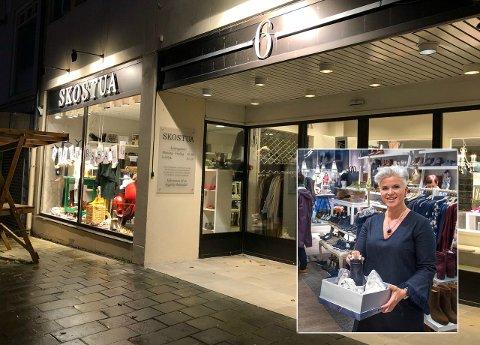 GIR SEG: Anne Sveen (innfelt) har drevet Skostua de siste årene, som tredje generasjon i familien. 24. oktober offentliggjorde hun at de legger ned butikken.
