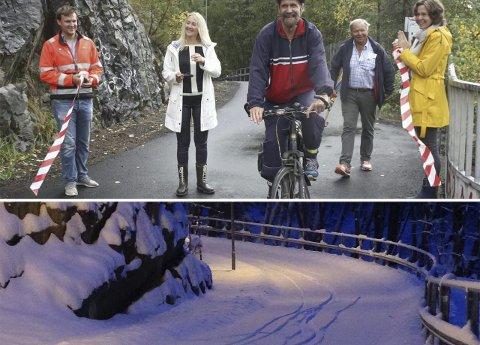 Snø: Sykkelveien som Siv Kaspersen åpnet i august 2015 var ikke strødd og ryddet for snø, til tross for at det er den tryggeste sykkelveien inn til Oslo, mener Nordahl.