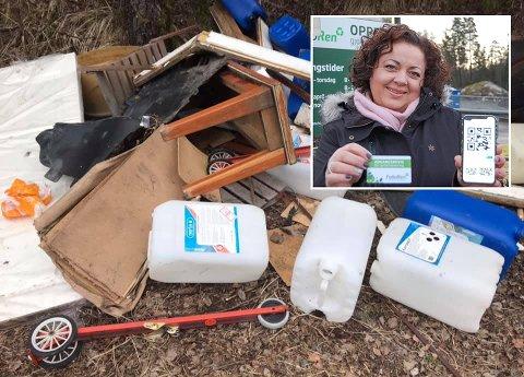 NY ORDNING: Pia Løseth ser ikke noen sammenheng mellom kvoteordningen til Follo Ren og søppelhaugen Gorm Johnsen har fotografert mellom Siggerud og Langhus.