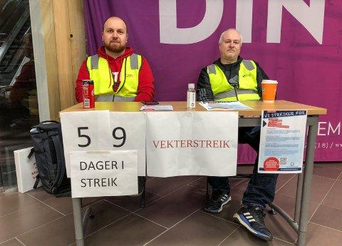 TO MÅNEDER: Mirnes Balic (til venstre) og Tore Olafsen har streiket siden 16. september.