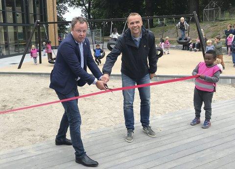 Her fra åpningen av Maristien barnehage i fjor med Robin Kåss og Anders Rambekk.