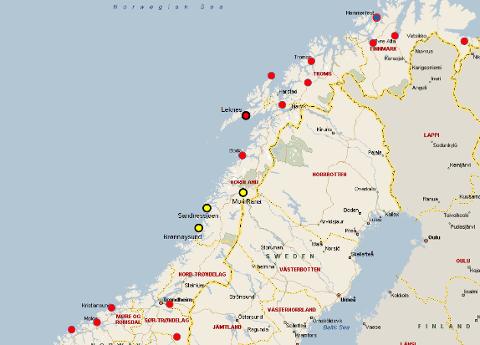 Oversikt over større lufthavner i Midt-Norge og Nord-Norge. I Lofoten  anbefaler Avinor å bygge en ny større flyplass i Leknes og det jobbes det med planer for en større flyplass i Hammerfest. Brønnøysund lufthavn og Sandnessjøen lufthavn, Stokka, kan oppgraderes til kategori 3C. Dersom utredning  viser at det samme også også gjelder Mo i Rana lufthavn, Røssvoll, kan vi ha tre lufthavner på Helgeland som kan betjene moderne jetfly med inntil 160 seter.