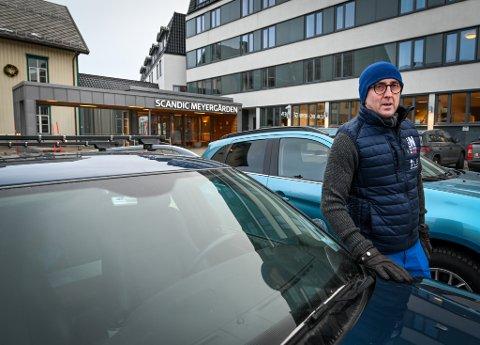Jørn Gundersen fra Bodø ble værfast på Scandic Meyergården hotell etter at Frank stengte Saltfjellet.