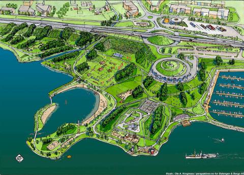 AMFI: Neste år, når E6-utbyggingen er i mål, vil amfiet i Mjøsparken stå klart.