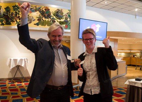 Hole-ordfører Per R. Berger (H) og fungerende Jevnaker-ordfører Trine Lise Olimb (Ap) er glad for løfter om vei og bane.