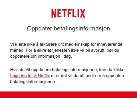 For Netflix-kunder ser eposten tilforlatelig ut.