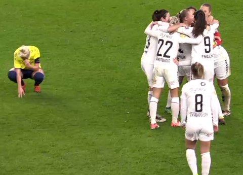VIDERE: Med 2-0-seieren i København har LSK Kvinner sikret seg en plass videre i Champions League. Her fra jubelscenene rett etter det RBTV-sendte oppgjøret.